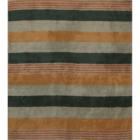 "Stripe Gabbeh Oriental Home Decor Area Rug Hand-tufted Wool Carpet - 6'6"" x 6'6"""