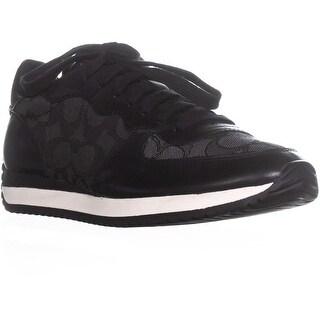 Coach Farah Low Top Lace up Fashion Sneakers, Black Smoke/Coal - 6 us / 36 eu