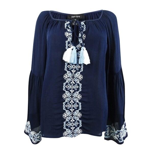 Karen Kane Womens Embroidered Tassel-tie Top