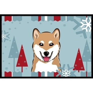 Carolines Treasures BB1721JMAT Winter Holiday Shiba Inu Indoor & Outdoor Mat 24 x 36 in.