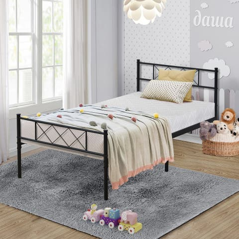 Graceful Lines Victorian Iron Metal Twin Bed by VECELO - 75''Lx39''Wx35''H