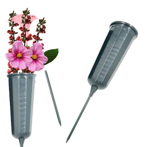 Evelots NEW Cemetery Cone Vases-Sturdy Steel Stakes-Graveside Memorial