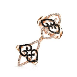 Bling Jewelry Adjustable Rose Gold Plated Full Finger Black Scroll Heart CZ Ring