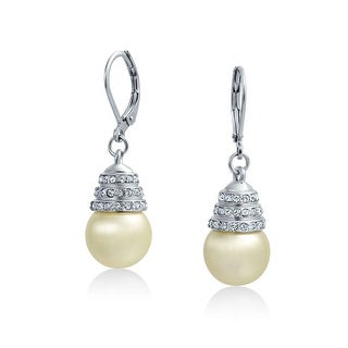 Bling Jewelry Imitation Pearl Leverback Earrings Rhodium Plated Alloy 11mm