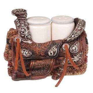 Gift Corral Western Salt And Pepper Set Saddle Holder Brown