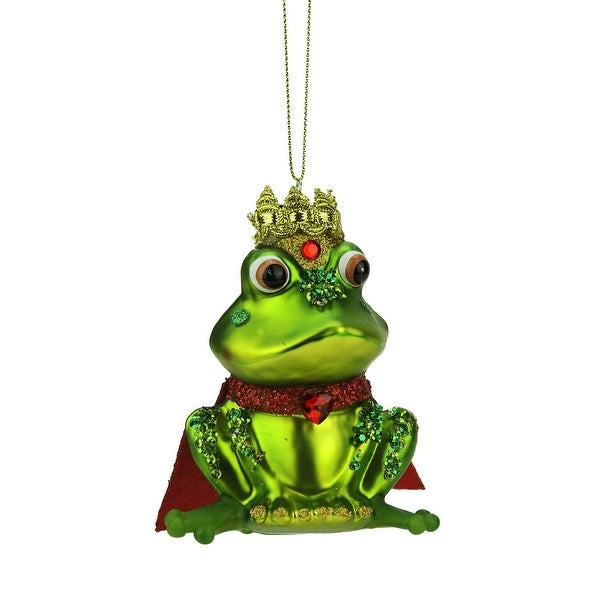 4.25'' Green and Red Glittered King Frog Glass Christmas Ornament