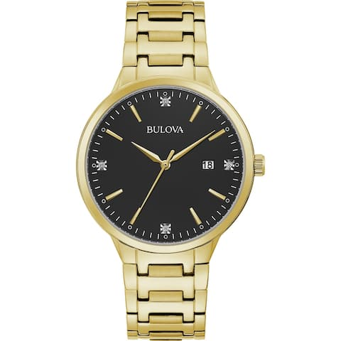 Bulova Mens 97D122 Goldtone Diamond Accent Dial Bracelet Watch - Gold-Tone