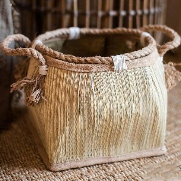 RusticReach Straw Organizer Basket with Hemp Rope
