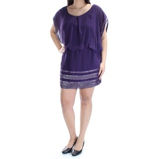 SLNY $89 Womens New 1430 Purple Metallic Dolman Sleeve Blouson Dress 14 B+B
