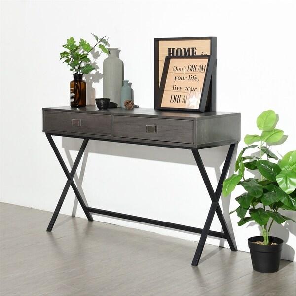 FurnitureR 2-Drawer Metal X Leg Writing Desk. Opens flyout.