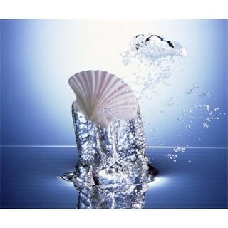 White scallop shell being raised on pillar of bubbling water Poster