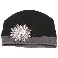 Womens Wool Winter Cuffless Beanies w/ Flower Crest
