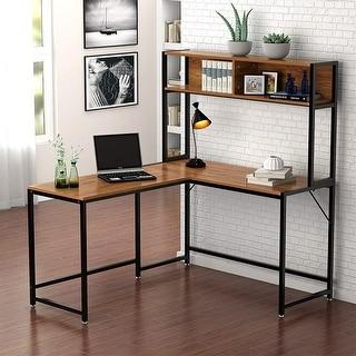 "L-Shaped Desk with Hutch, 55"" Corner Computer Desk"