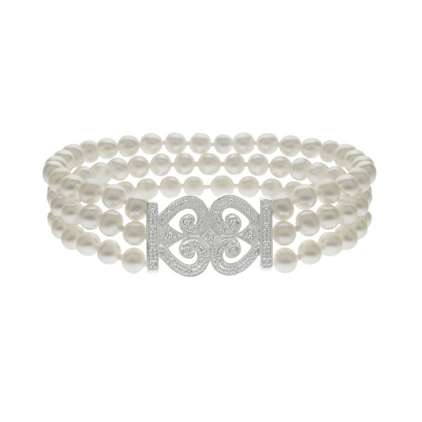 Freshwater Pearl and 1/6 ct Diamond Bracelet in 14K White Gold