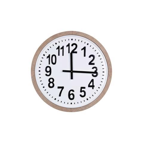 Wood Framed Round Metal Wall Clock