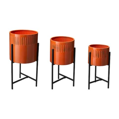 Glitzhome Set of 3 Modern Distressed Metal Plant Stands