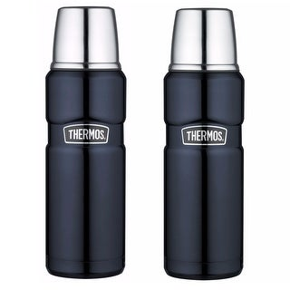 Thermos Vacuum Insulated 16 Oz Stainless King Drink Bottle (Midnight Blue) 2PK