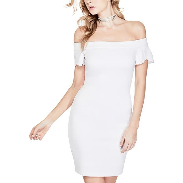 GuessRuffled Short Sleeve Off Shoulder Bodycon Formal Mini DressBlack