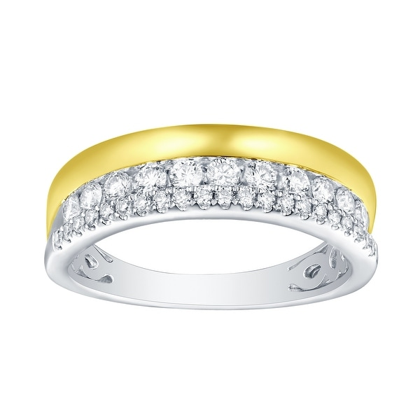 Prism Jewel 0.50ct Round Brilliant Cut G-H/SI1 Natural Diamond Two-Tone Wedding Band - White G-H