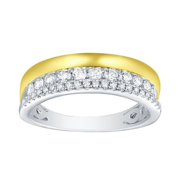 Prism Jewel 0.50ct G-H/SI1 Natural Diamond Two-Tone Wedding Band