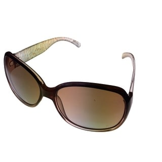 Ellen Tracy Womens Sunglass 519 3 Brown Fade Modified Rectangle, Gradient Lens - Medium