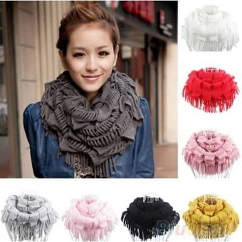Women's Warm Knitting Wool Tassel Scarf Shawl