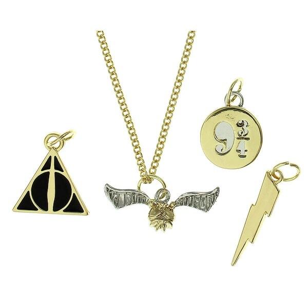 Harry Potter Snitch Deathly Hallows Lightening Bolt Platform 9 3/4 Multi Charm Choker Necklace