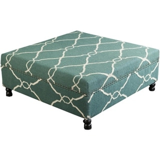 """40"""" Hunter Green and Light Beige Upholstered Wool and Wooden Foot Stool Ottoman"""