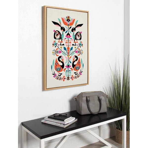 Kate and Laurel Sylvie Floral Bunny Framed Canvas by Rachel Lee. Opens flyout.