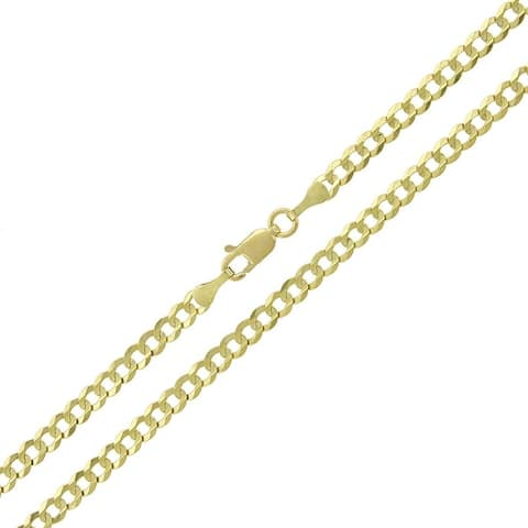10K Yellow Gold 3.5MM Unisex Solid Cuban Curb Link Necklace Chain