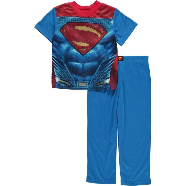 3ae7706297 Shop DC Comics Boys 4-10 Superman Pajama Set With Cape - Blue - Free  Shipping On Orders Over  45 - Overstock - 18768260