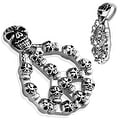 Peace Sign with Casted Multi Skulls Stainless Steel Pendant (33 mm Width) - Thumbnail 0