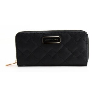 Marc by Marc Jacobs NEW Black Saffiano Quilted Slim Zip Around Wallet