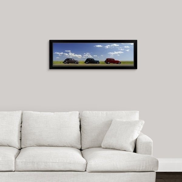 """Three Hot Rods moving on a highway, Route 66,"" Black Framed Print"
