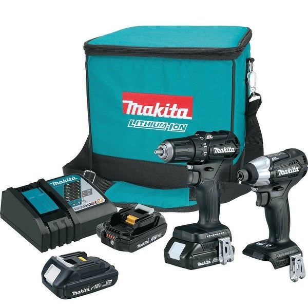 Makita 18V LXT® Lithium-Ion Sub-Compact Brushless Cordless 2-Pc. Combo Kit (2.0Ah) with extra battery
