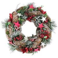 "13.25"" Berries, Apples, Stars, and Pine Cones Frosted Christmas Wreath - Unlit - brown"