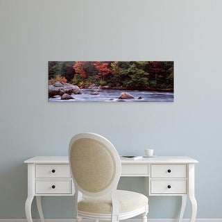 Easy Art Prints Panoramic Image 'Trees along a river, Moose River, Adirondack Mountains, New York, USA' Canvas Art