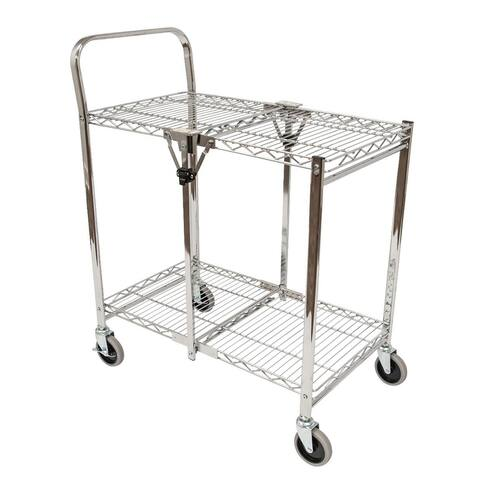 "OF-WSCC-2 - Offex 40"" Two Shelves Collapsible Wire Utility Cart - Stainless Steel"