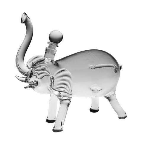 WHAT ON EARTH Elephant Shaped Blown Glass Decanter - Food Safe Liquor Bottle with Stopper - Clear - 10 in. x 9 in.