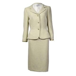 Tahari Women's Winnie Notched Lapel Glitter Tweed Skirt Suit - Yellow/Ivory - 16