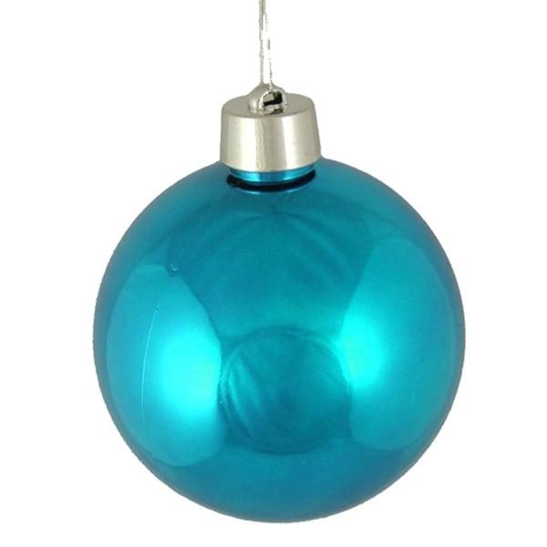 "Huge Shiny Turquoise Blue Shatterproof Christmas Ball Ornament 12"" (300mm)"