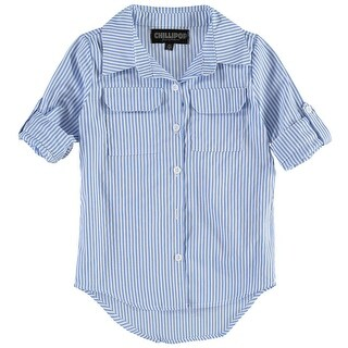 ChilliPop Girls 4-6X Striped Hi Low Woven Button-Down Shirt - Blue