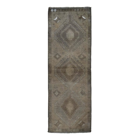 """Hand Knotted Brown Tribal & Geometric with Wool Oriental Rug (2'4"""" x 7') - 2'4"""" x 7'"""