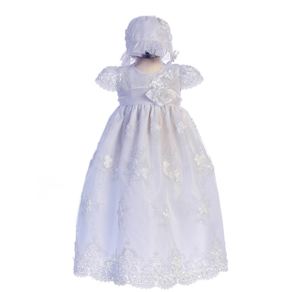 c59373c82 Shop Crayon Kids Baby Girls White Flower Embroidered Bonnet Baptism Dress - Free  Shipping Today - Overstock - 26565270