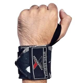 Weight Lifting Wrist Wraps Support Gym Training Bandage Straps Camo Grey B-3J
