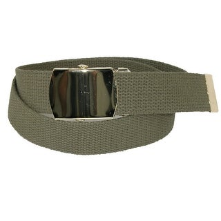 CTM® Kids' Cotton Adjustable Belt with Brass Military Buckle