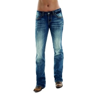 Cowgirl Tuff Western Jean Women Twisted Metal Metallic Med Wash JTWMET