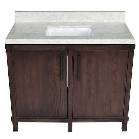 40 inch Brown Oak Bathroom Vanity with Quartz Top, Solid Mahogany Base