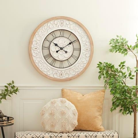 White Wood Farmhouse Wall Clock 32 x 32 x 2 - 32 x 2 x 32