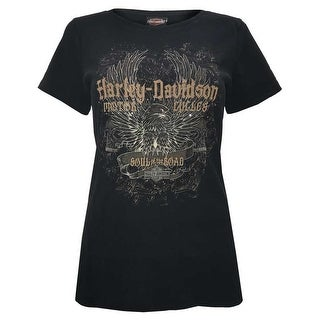 Harley-Davidson Women's Studded Immortal Eagle Short Sleeve Tee, Black Rust